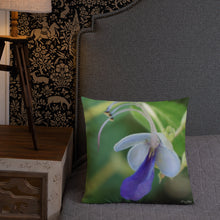 Load image into Gallery viewer, Butterfly Bush Clerodendrum Premium Pillow with Green Back
