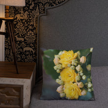 Load image into Gallery viewer, Yellow Kalanchoe Premium Pillow with Light Grey Back