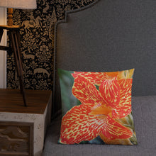 Load image into Gallery viewer, Dwarf Canna 'Picasso' Premium Pillow with Orange Back