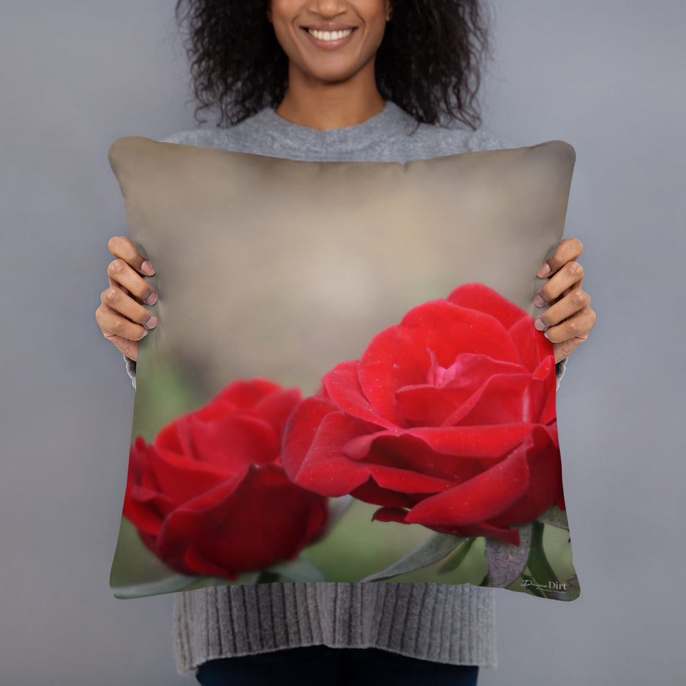 Rose 'Ruby Red'  Standard Pillow with Light Grey Back