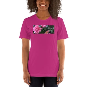 Love Life!  Funky Pink Begonia Short-Sleeve T-Shirt