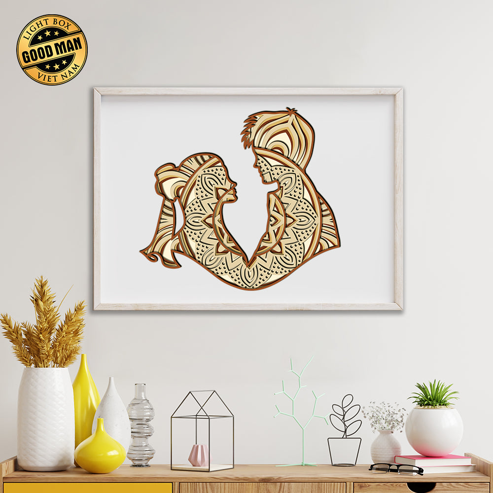 Yorkie – 3D Paper Cutting Light Box SVG Template files, 3D Shadow box Template SVG files, 20x20 cm