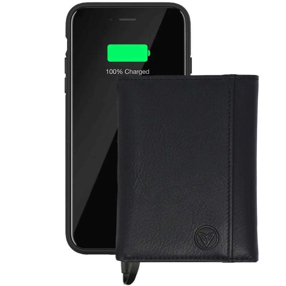 Vintage Black Tri-Fold Power Bank Wallet - Venice Design
