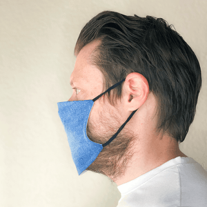 Blue Denim Print Cloth Washable Face Mask with PM2.5 Filter