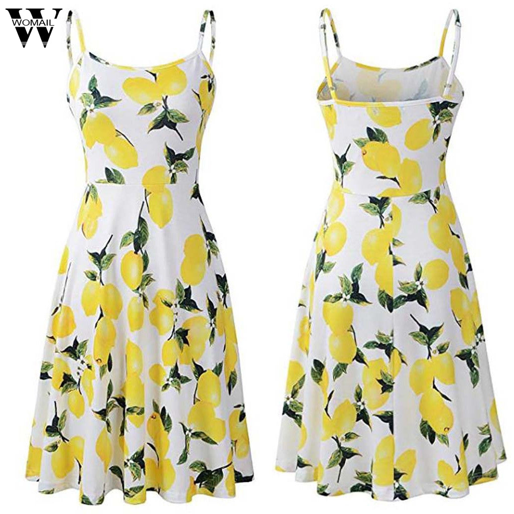 Lemon Print Casual Summer Dress