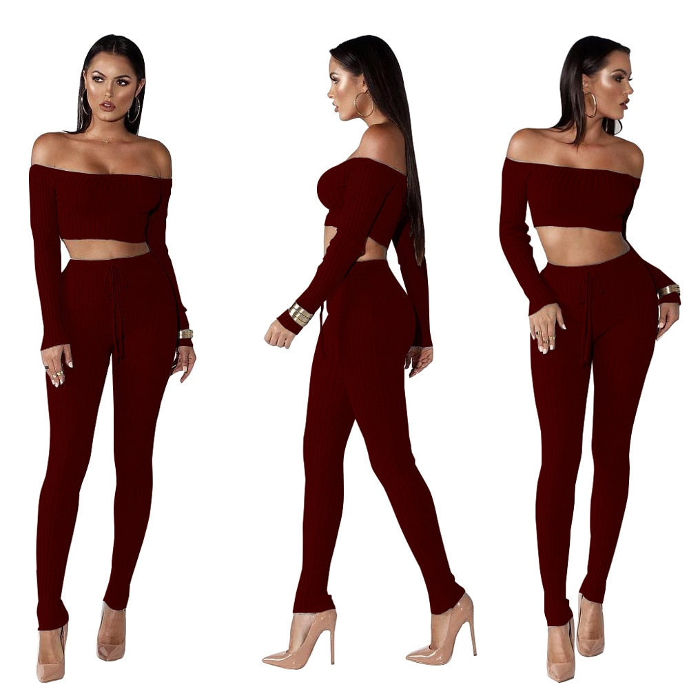 Slash Neck Long Sleeve Tracksuit