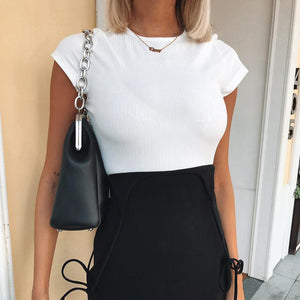 Short Sleeve Solid O-Neck Cropped Tee