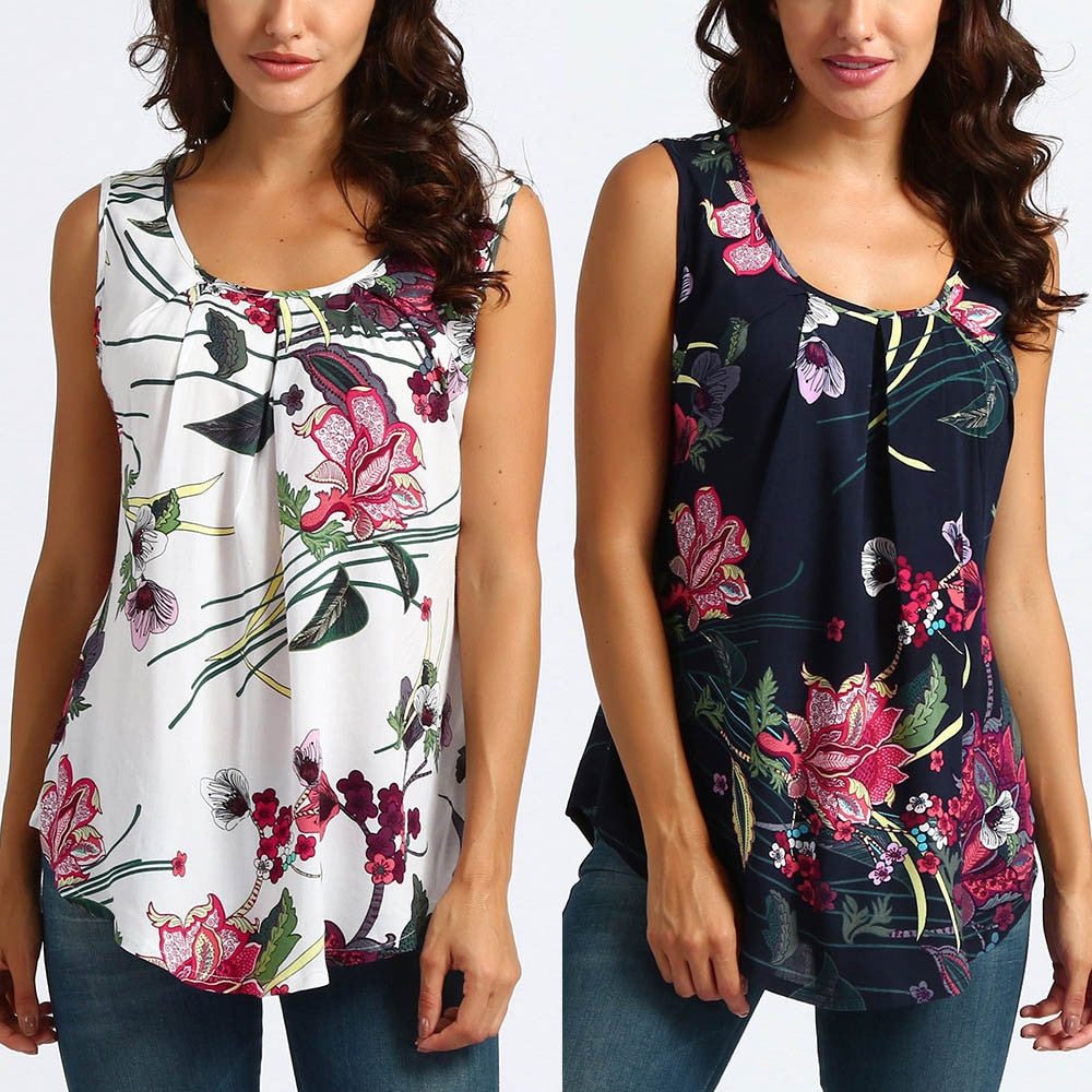 Printed Floral Sleeveless Tank Top Blouse