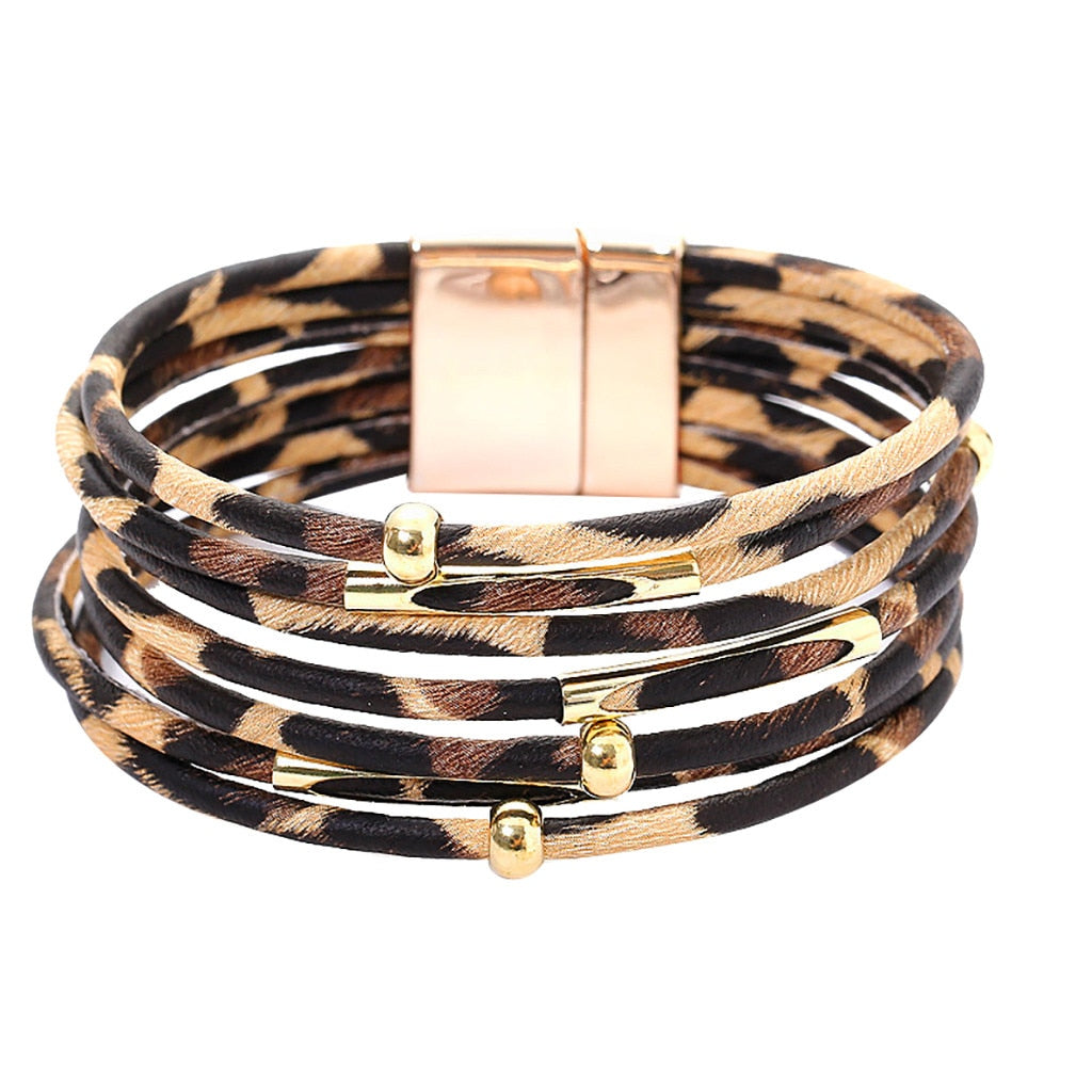 Leopard Multi-layer Bracelet with Magnetic Clasp