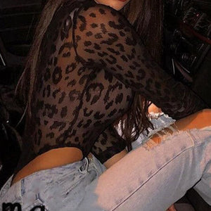 Leopard Mesh Sheer Top Long Sleeve