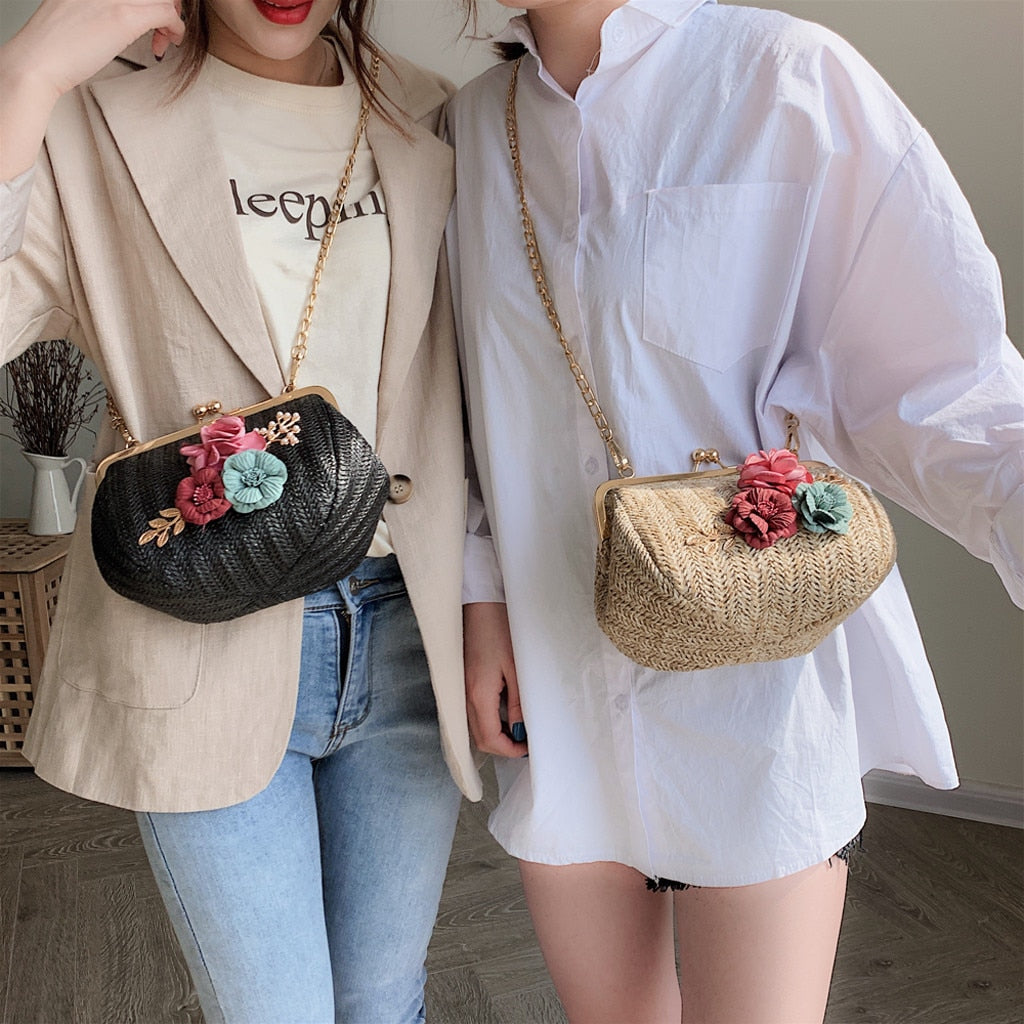 Straw Handbag Mini Beach Bag with Flower