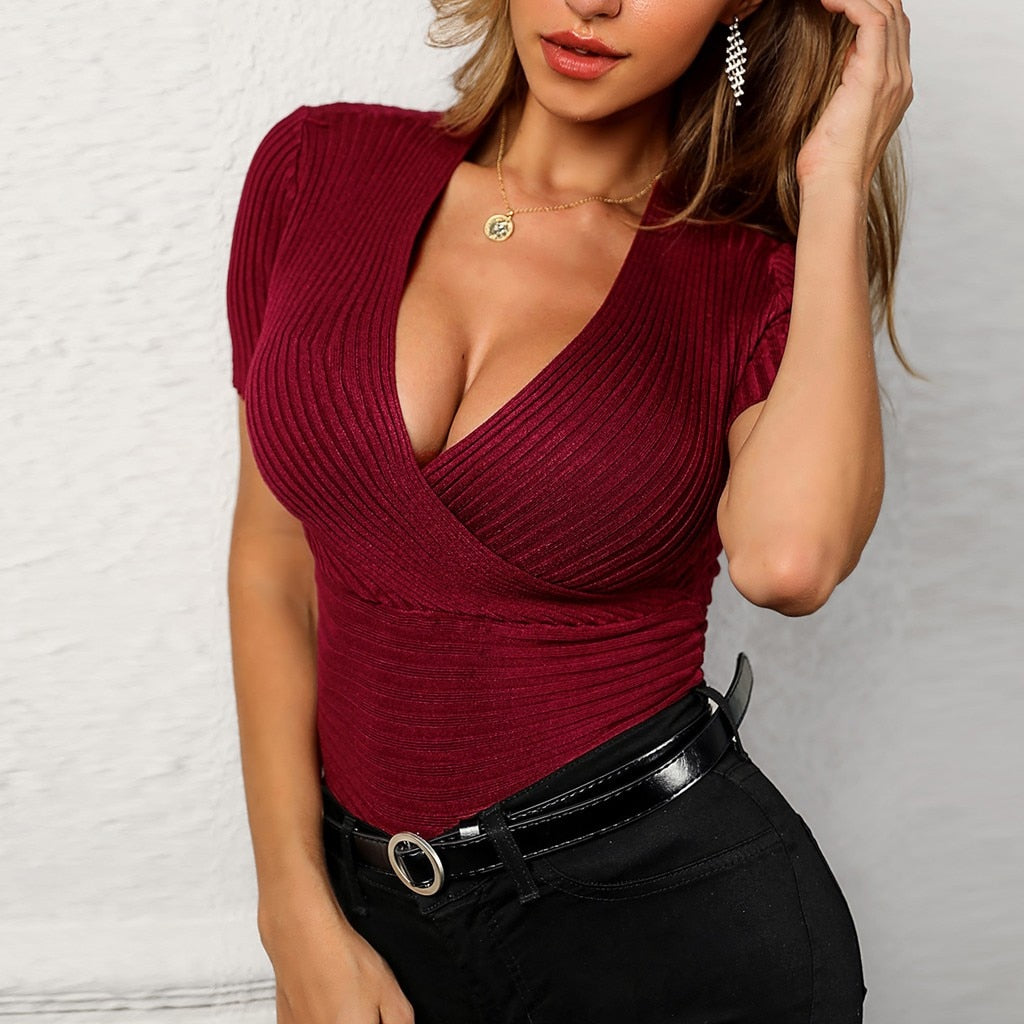 Solid Knit Deep V T-Shirt