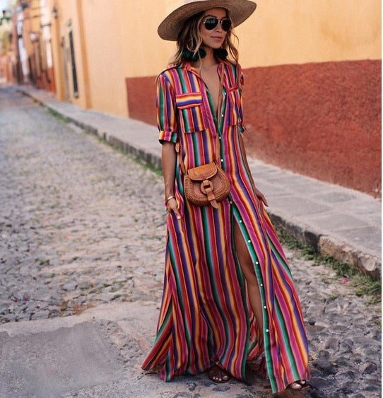 Multi-colored Striped Long Shirt Dress