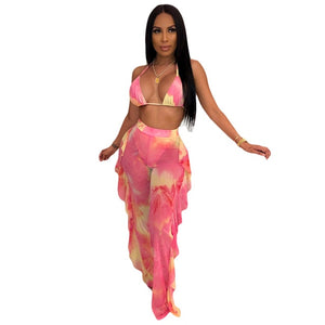 Tie Dye Print Mesh Summer Beach Two Piece Set with Panties