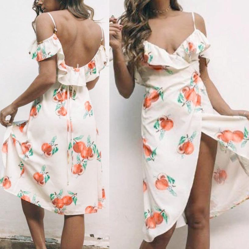 Peach Print Mini Dress