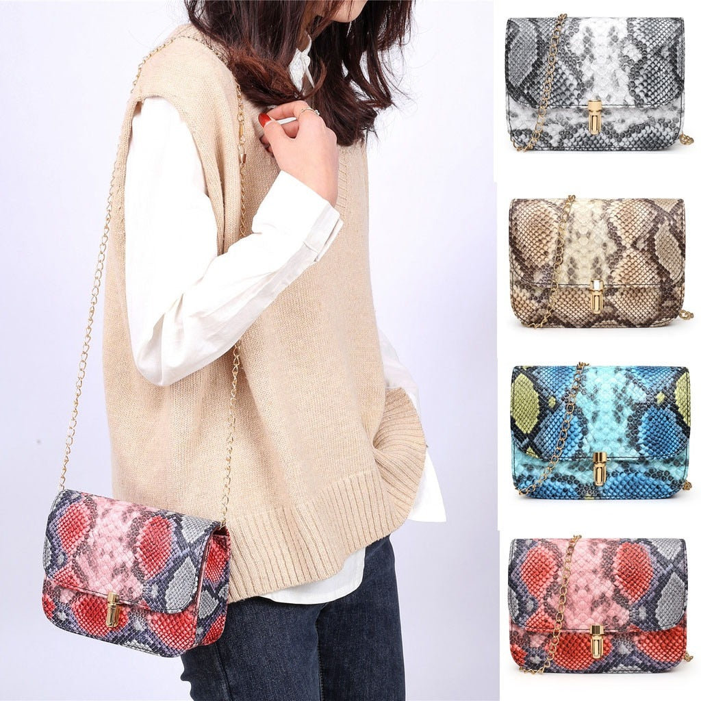 Small Snake Print Shoulder Bag
