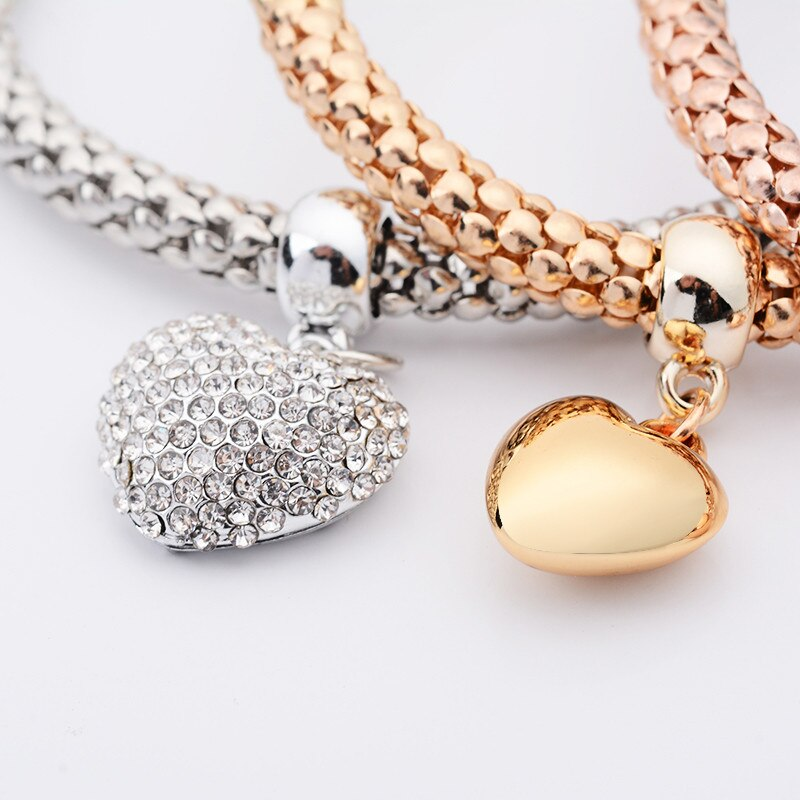 3PCS/Set Women's Fashion Heart Pendant Bracelets