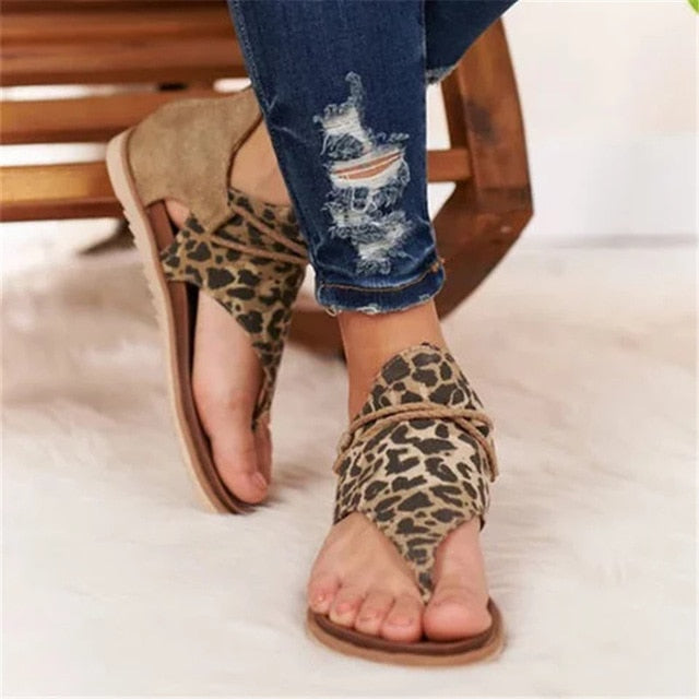 Women Sandals New Leopard Print Summer Shoes Women Large Size Andals Flat Women Sandals Womens Summer Shoes  Fashion босоножки