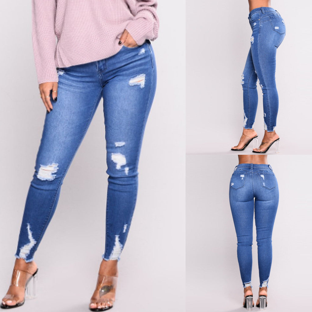 Stretch Ripped Distressed Denim Pants