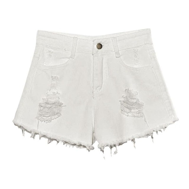 Casual Ripped Hole Denim Shorts