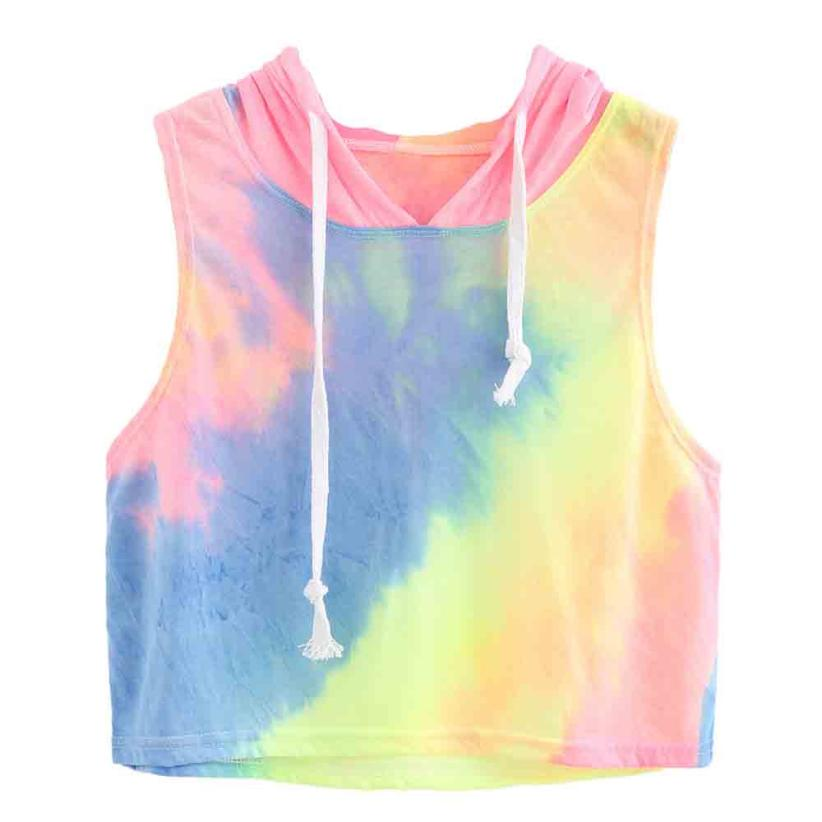 Multi Color Sleeveless Crop Top Hoodie