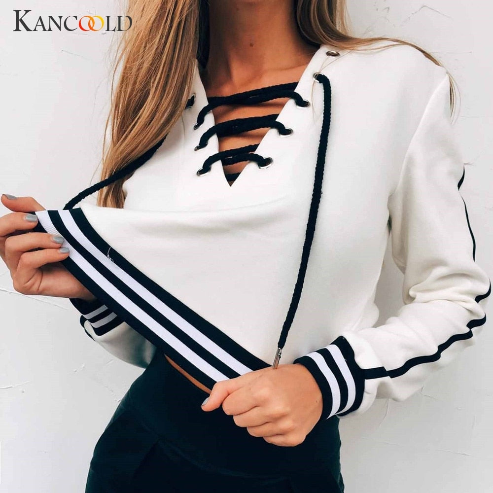 Long Sleeve Pull Over Crop Top Sweatshirt
