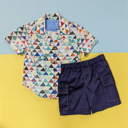 Boy's Button Down Shirt - Colored Triangles