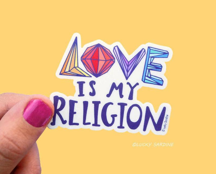 Love Is My Religion Happy Rainbow Vinyl Sticker