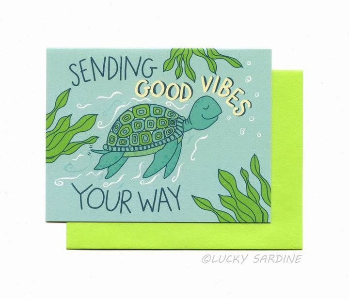 Good Vibes Sea Turtle Greeting Card