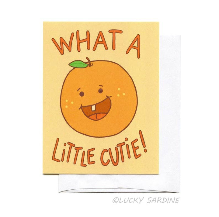 What A Little Cutie, Orange Baby Greeting Card