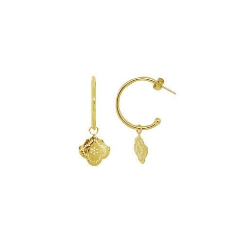 Medium Hoop Earrings With Flower Pendant