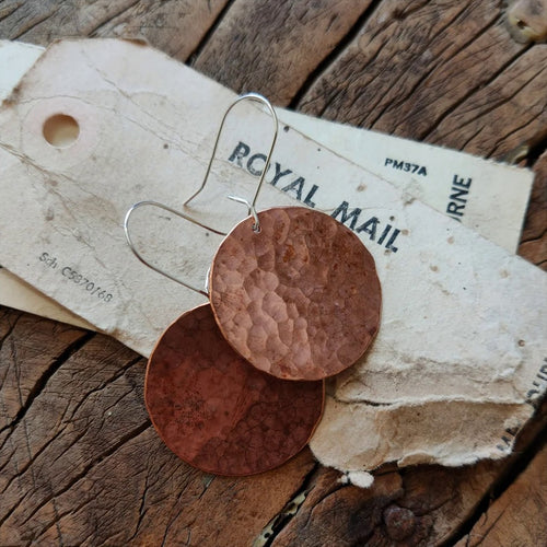 Large Distressed Copper Disk Earrings