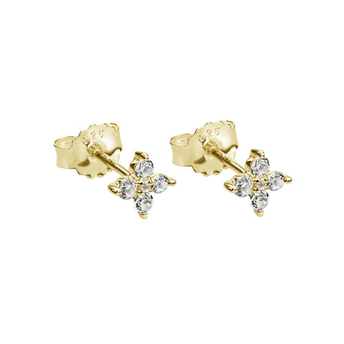 Clover Studs With White Topaz