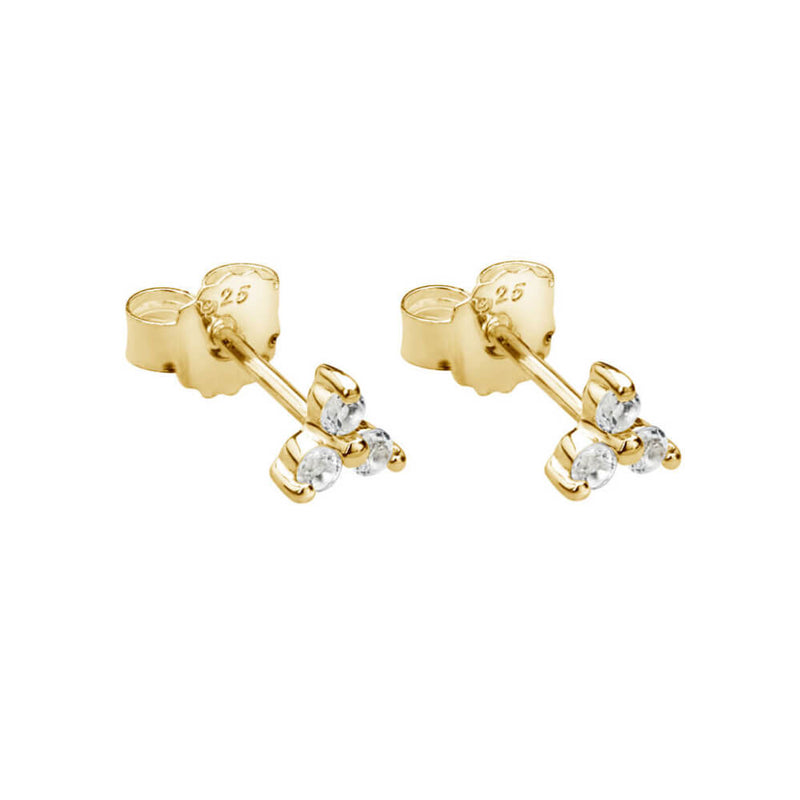 Trinity Ball Stud With White Topaz Earring