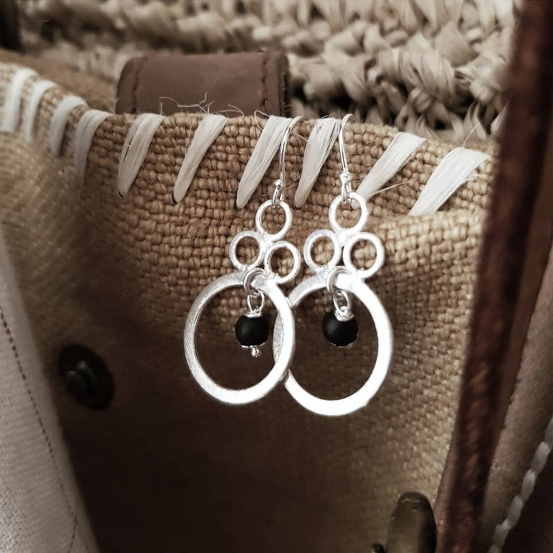 Brushed and Beaded Silver Drop Earrings