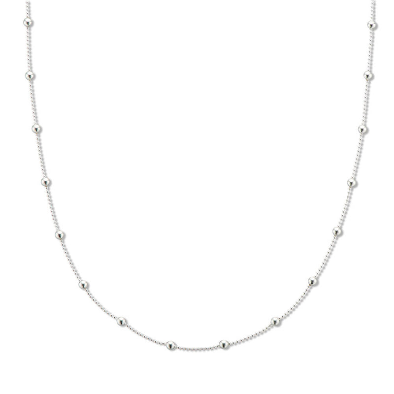 Silver Fine Ball Bead Chain Necklace