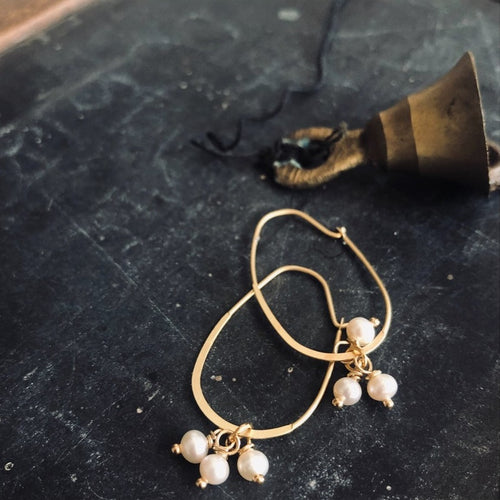 Baby Pearl Cluster Hoop Earrings