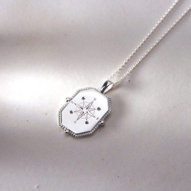 Compass Necklace With White Topaz