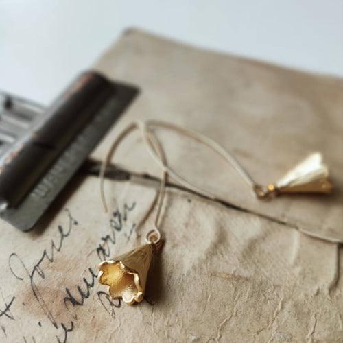 Gold Flower Bell Pin Earrings