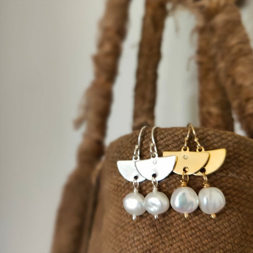 Half Moon & Pearl Earrings