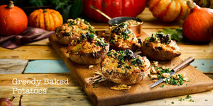 Autumn Recipes by Angela Gray Huw Jones published by Graffeg Angela Gray's Cookery School greedy baked potatoes