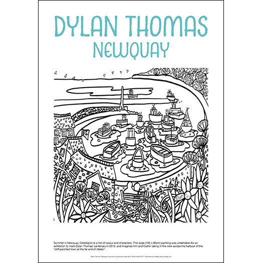 Dylan Thomas Newquay - Helen Elliott Colouring Poster