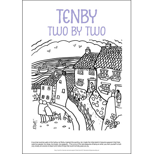 Tenby Two by Two - Helen Elliott Colouring Poster