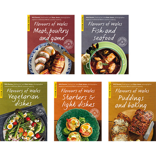 Flavours of Wales Pocket Book Series by Gilli Davies and Huw Jones published by Graffeg. Meat, Poultry and Game, Fish and Seafood, Vegetarian Dishes, Starters and Light Dishes, Puddings and Baking