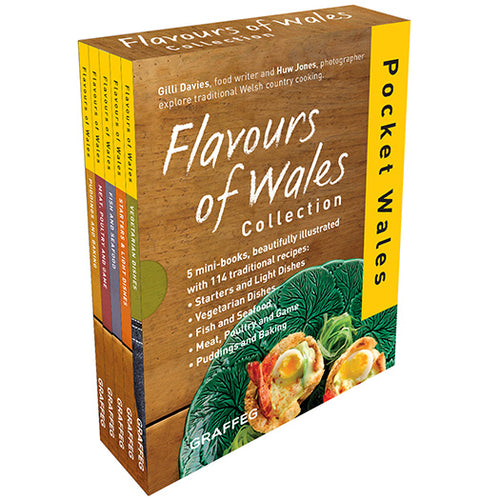 Flavours of Wales PG Pack Pocket Wales Gilli Davies Huw Jones published by Graffeg, starters and light bites, vegetarian dishes, fish and seafood, meat, poultry and game, puddings and baking