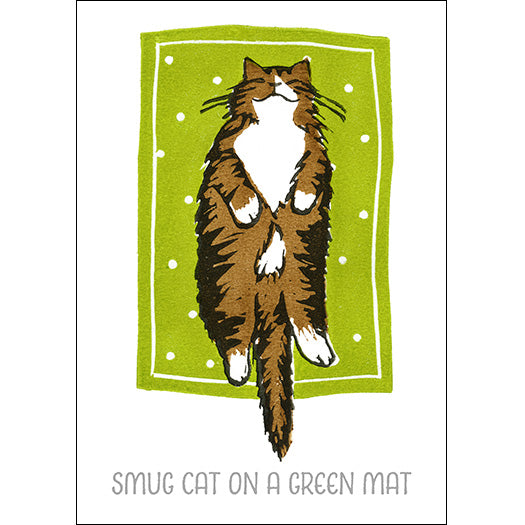 Smug Cat on a Green Mat - Jo Cox Poster
