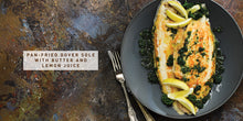 Load image into Gallery viewer, Flavours of England Fish and Seafood Gilli Davies Huw Jones published by Graffeg pan-fried dover sole with butter and lemon juice