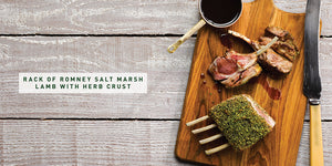 Flavours of England Roasts Gilli Davies and Huw Jones published by Graffeg rack of Romney salt marsh lamb with herb crust