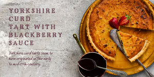 Flavours of England Puddings Gilli Davies Huw Jones published by Graffeg Yorkshire curd tart with blackberry sauce