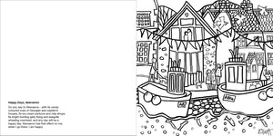 Helen Elliott Village Life Colouring Book, published by Graffeg, Aberaeron